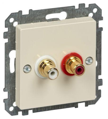 Розетка Schneider Electric MTN4350-0344 аудио с двумя гнездами тюльпан беж