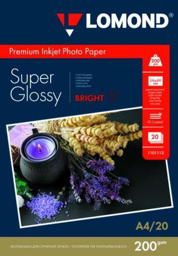 Фотобумага Lomond 1101112 суперглянцевая ярко-белая (Super Glossy Bright) микропористая, 200/A4/20л.