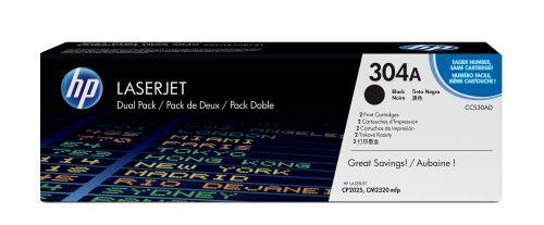 Фото - Картридж HP 304A CC530AD для принтера color LaserJet CP2025/CM2320 чёрный (двойная упаковка) картридж hp 304a cc533a для принтера color laserjet cp2025 cm2320 пурпурный