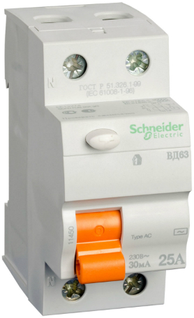 Фото - Выключатель Schneider Electric 11452 дифференциального тока (УЗО) 2п 40А 30мА ВД63 АС (серия Домовой) выключатель schneider electric 11463 дифференциального тока узо 4п 40а 30ма вд63 ас серия домовой