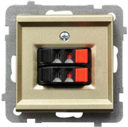 Розетка Ospel GG-2R/m/39 для динамиков, двойная, подключаемость проводов 0, 75мм2, шампанский золотой