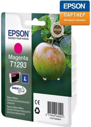 Картридж Epson C13T12934012 для Stylus SX420W/SX425W/SX525WD/SX620FW, Stylus Office BX305F/BX305FW/BX320FW/BX525WD/BX625FWD/SX430W/ WF-7525 пурпурный