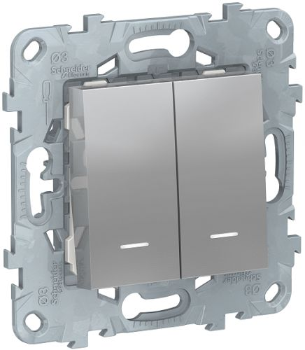 Фото - Выключатель Schneider Electric NU521130N UnicaNew, алюминий, 2-клавишный, 2 модуля, с подсветкой, 2 х сх. 1а выключатель schneider electric nu520118 unicanew белый 1 клавишный сх 1 10 ax 250в