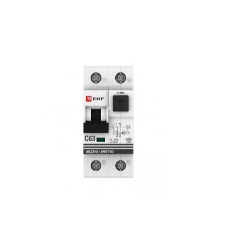 Фото - Автомат дифференциальный EKF DA63-10-30e 1мод. С 10А 30mA тип А 6кА АВДТ-63М (электрон.) PROxima da63 40 30e