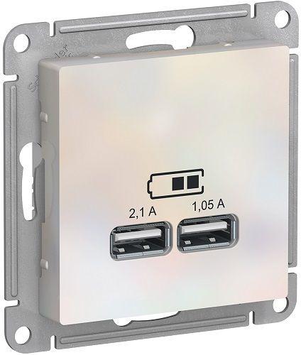 Розетка Schneider Electric ATN000433 AtlasDesign, USB, 5В, 1 порт x 2.1 А, 2 порта х 1.05 А, механизм, жемчуг