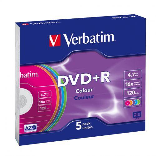 Диск DVD+R Verbatim 43556 4.7ГБ, 16x, 5шт., Slim Case Color