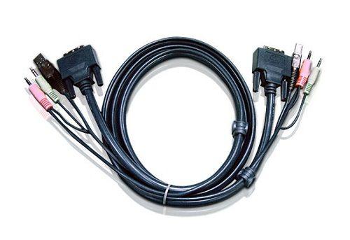 Кабель Aten 2L-7D03UI USB+аудио, DVI-I Single Link+USB A-Тип+2xRCA=>DVI-I Single Link+USB B-Тип+2xRCA, Male-Male, опрессованный, 3 м, черный