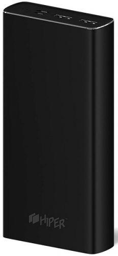 Аккумулятор внешний универсальный HIPER MPX20000 Li-Pol 20000mAh 3A+3A+2.4A 2xUSB 1xType-C, черный внешний аккумулятор hiper power bank mpx20000 20000mah gold