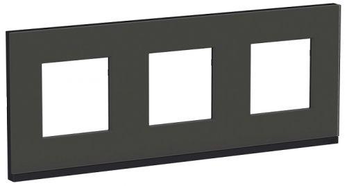 Рамка Schneider Electric NU600686 стекло/Антрацит Рамка 3-ная горизонтальная черное стекло/антрацит