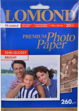 Бумага Lomond 1103302 10х15 Полуглянцевая фотобумага, 260 г/м2, 20 листов