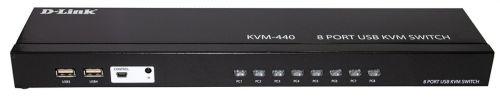 Переключатель KVM D-link KVM-440 на 8-компьютеров с портами 8xVGA, 4xUSB, rev /C1A