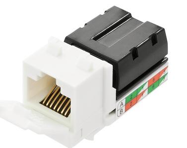 Фото - Модуль NikoMax NMC-KJUD2-NT-WT вставка, типа KeyStone, Кат.5e, RJ45/8P8C, самозажимной, T568A/B, неэкранированный, белый модуль eurolan 16b u5 03yl розеточный keystone кат 5e utp 1xrj45 t568a b желтый
