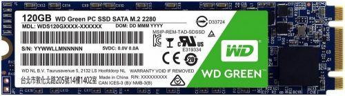 Фото - Накопитель SSD M.2 2280 Western Digital WDS120G2G0B WD Green 120GB SATA 6Gb/sTLC 3D NAND 545MB/s MTTF 1M Retail ssd накопитель transcend ts120gmts820s 120gb m 2 2280 sata iii ssd ts120gmts820s