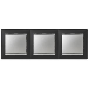Рамка Legrand 770393 Valena 3 поста горизонтальная, IP20 (ноктюрн/серебряный штрих)
