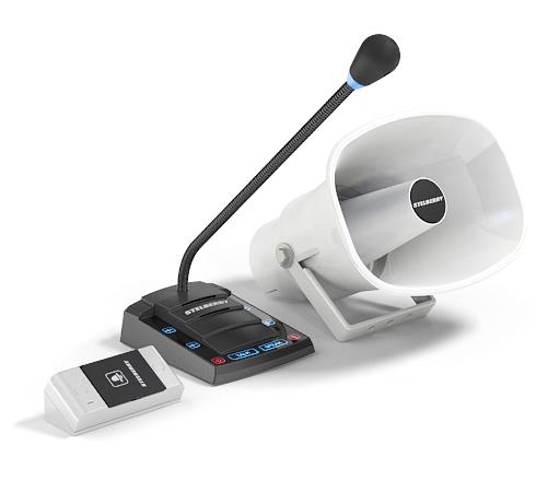 Комплект Stelberry S-525 переговорного устройства клиент-кассир для АЗС с системой громкого оповещения, функцией