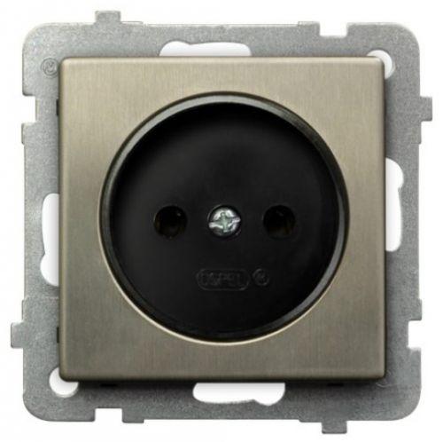 Розетка Ospel GP-1RM/m/44 одинарная, 16A, 250V, IP-20, клеммы винтовые, серебро