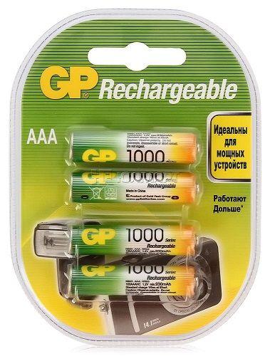Аккумулятор GP 100AAAHC 1000mAh, 4шт, size AAA, NiMH