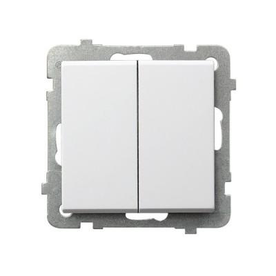 Выключатель Ospel LP-17R/m/00 самовозвратный, двойной, 10AX, 250V, 2200W, IP-20, клеммы безвинтовые, белый