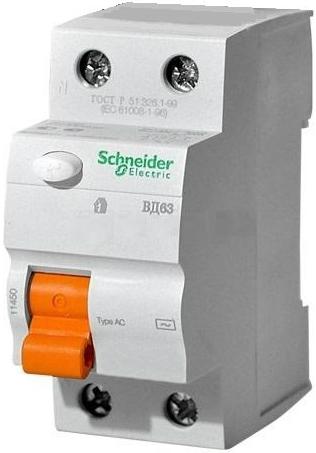 Фото - Выключатель Schneider Electric 11455 дифференциального тока (УЗО) 2п 63А 30мА ВД63 АС (серия Домовой) выключатель schneider electric 11463 дифференциального тока узо 4п 40а 30ма вд63 ас серия домовой
