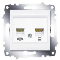 Розетка ABB 619-010200-249 Cosmo компьютерная + TF двойная RJ45 cat 6 + RJ 11, 50В, IP20 (белая)