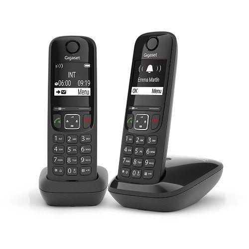 Телефон DECT Gigaset AS690 DUO L36852-H2816-S301 RUS черный (труб. в компл.2шт) АОН