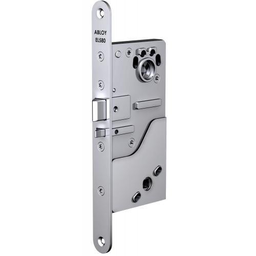 Замок Abloy EL580 (50) эл-мех соленоидный, для сплошных дверей, выход с управлением от ручки, режимы НО/НЗ, 12-24VDC, 0,35Amax, бэксет 50мм