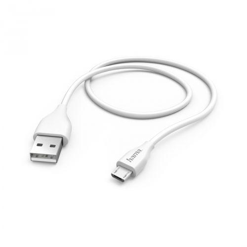 Кабель интерфейсный USB 2.0 HAMA 00173628 microUSB B (m)/USB A(m), 1.4м, белый кабель hama h 54500 00054500 usb a m usb a m 1 8м