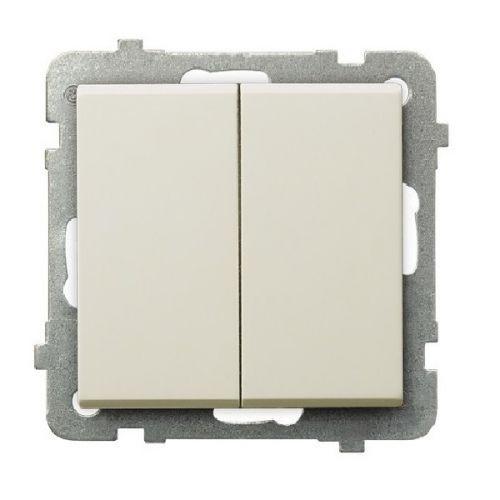 Выключатель Ospel LP-17R/m/27 самовозвратный, двойной, 10AX, 250V, 2200W, IP-20, клеммы безвинтовые, экрю