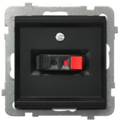 Розетка Ospel GG-1R/m/33 для динамиков, одинарная, подключаемость проводов 0, 75мм2, черный металлик