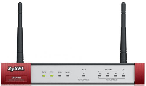 Межсетевой экран ZYXEL USG40W-RU0102F USG40W UTM BDL с набором подписок на 1 год (AS,AV,CF,IDP), 1xWAN GE, 3xLAN/DMZ GE, 1xOPT GE, 802.11b/g/n (2,4 ГГ
