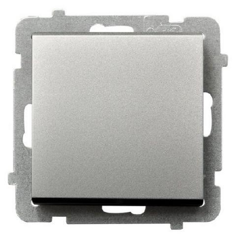 Выключатель Ospel LP-1R/m/38 однополюсный, 16AX, 250V, 3520W, IP-20, клеммы безвинтовые, серебро матовое
