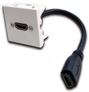 Вставка Lanmaster LAN-SIP-23HDMI-WH Mosaic 45x45 с адаптером HDMI с удлинителем, мама-мама, белая