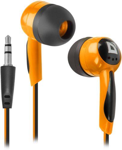 Наушники Defender Basic 604 63606 черный/оранжевый