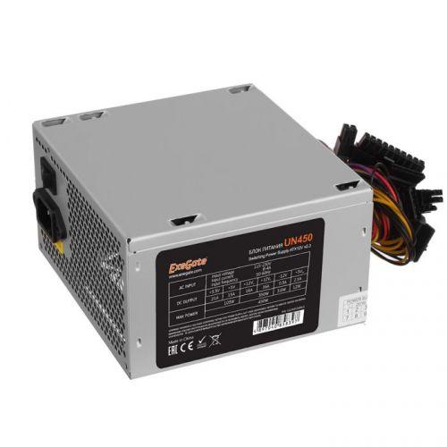 Блок питания ATX Exegate UN450 EX244554RUS-PC 450W, PC, 12cm fan, 24p+4p, 6/8p PCI-E, 3*SATA, 2*IDE, FDD + кабель 220V в комплекте блок питания atx exegate uns400 es261567rus 400w 12cm fan 24p 4p 3 sata 2 ide fdd
