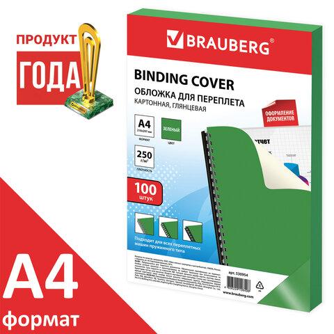 Обложка BRAUBERG 530954 А4, 100 шт., глянцевые, 250 г/м2, зеленые