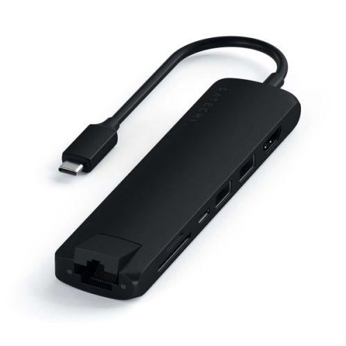 Адаптер Satechi Type-CSlimMultiport ST-UCSMA3K USB-C,черный usb c адаптер satechi type c slim multiport with ethernet adapter цвет черный