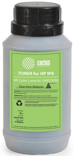 Тонер для заправки Cactus CS-THP6BK-95 черный флакон 95гр. для принтера HP CLJ 1600/2600