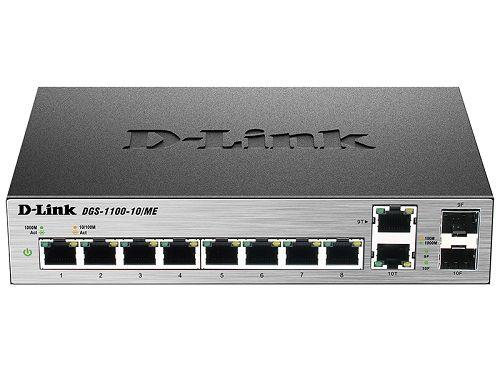Фото - Коммутатор управляемый D-link DGS-1100-10/ME/A1A/A2A DGS-1100-10/ME/A2A 2 уровня с 8 портами 10/100/1000Base-T и 2 комбо-портами 100/1000Base-T/SFP коммутатор промышленный управляемый d link dis 200g 12ps a1a 10x10 100 1000base t 2x1000base x sfp 8 портов с поддержкой poe 802 3af 802 3at 30 вт