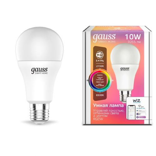 Лампа светодиодная Gauss 1180112 Smart Home RGBW E27 A60 10 Вт 2700-6500K970...1055 лм