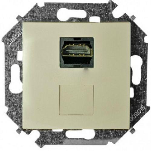 Розетка Simon 1591407-031 для подключения HDMI-разъёма аудио/видео, v1.4, тип А, сл.кость