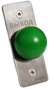 Кнопка Smartec ST-EX031 металлическая, врезная, кнопка грибок, НЗ/НР контакты, размер: 35х90 мм