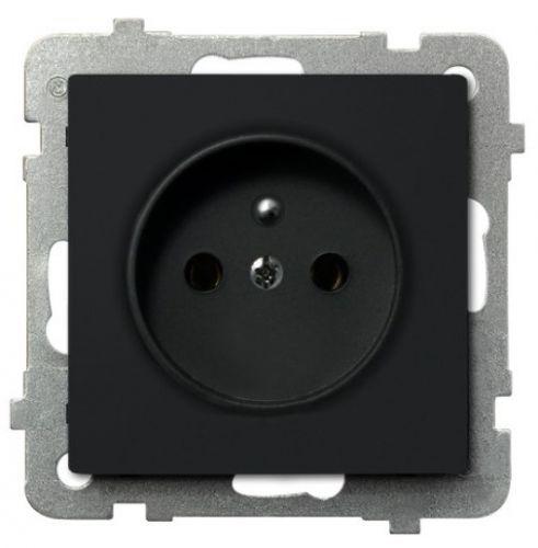Розетка Ospel GP-1RZ/m/33 одинарная, с заземлением, 16A, 250V, IP-20, клеммы винтовые, черный металлик