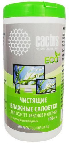 Салфетки Cactus CS-1001PE для экранов и оптики туба 100шт влажных