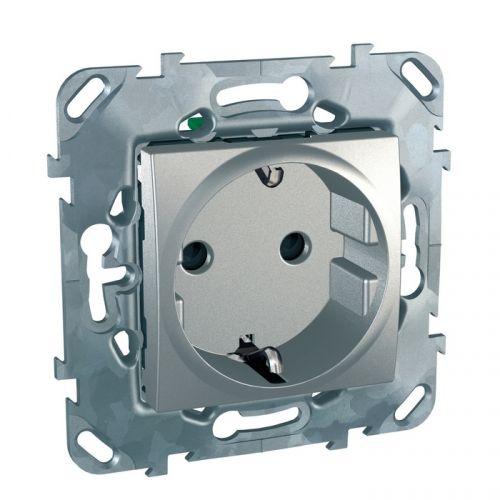 Розетка Schneider Electric MGU5.057.30ZD с/з шторки б/зажим клеммы алюминий