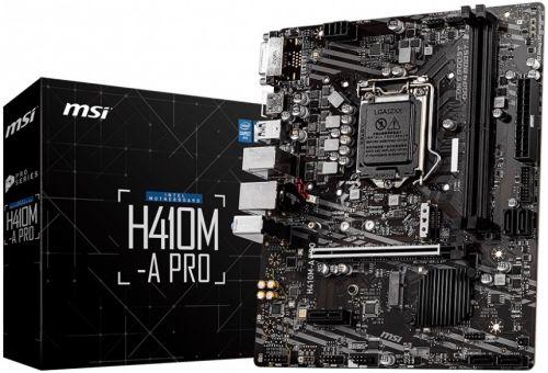 Материнская плата mATX MSI H410M-A PRO (LGA1200, H410, 2*DDR4(2933), 4*SATA 6G RAID, M.2, 2*PCIE, 7.1CH, Glan, 4*USB 3.2, HDMI/DVI-D) материнская плата supermicro mbd x12sae o lga1200 w480 4 ddr4 2933mhz 4 sata 6gb s raid 2 m 2 2 5glan glan 5 pcie 7 usb 3 2 usb type c 2