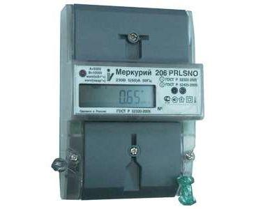Счетчик электроэнергии Меркурий М0000051785 206 RN 1ф 5-60А 1.0/2.0 класс точн. многотариф. оптопорт RS485 ЖКИ Моск. вр.
