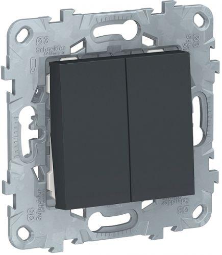 Фото - Выключатель Schneider Electric NU521154 UnicaNew, антрацит, 2-клавишный, сх. 5 выключатель schneider electric nu520118 unicanew белый 1 клавишный сх 1 10 ax 250в