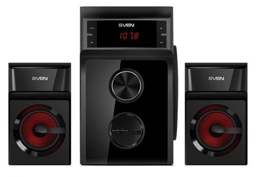 Компьютерная акустика 2.1 Sven MS-302 SV-013554 40 Вт, 40-20000 Гц, черные, тюнер, USB, SD