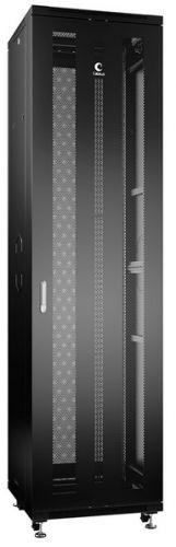 Шкаф напольный 19, 47U Cabeus ND-05C-47U60/100-BK телекоммуникационный 600x1000x2277mm (ШхГхВ) передняя и задняя перфорированные двери, ручка с замко