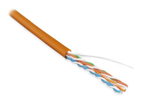 Фото - Кабель витая пара U/UTP 5e кат. 4 пары Hyperline UUTP4-C5E-S24-IN-LSZH-OR-305 (305 м) (24 AWG),(solid), LSZH, нг(С)-HF, -20°C – +75°C, оранжевый кабель витая пара u utp 5e кат 4 пары lanmaster lan 5eutp pt lszh lszh оранжевый 305м в кат